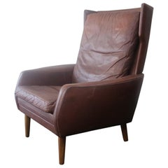 1970s Danish Midcentury Brown Leather High Back Armchair