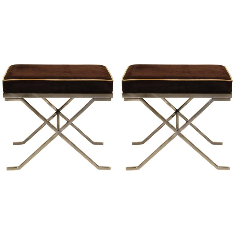 Pair of Modern Neoclassical Benches or Stools in the Manner of Jean-Michel Frank For Sale