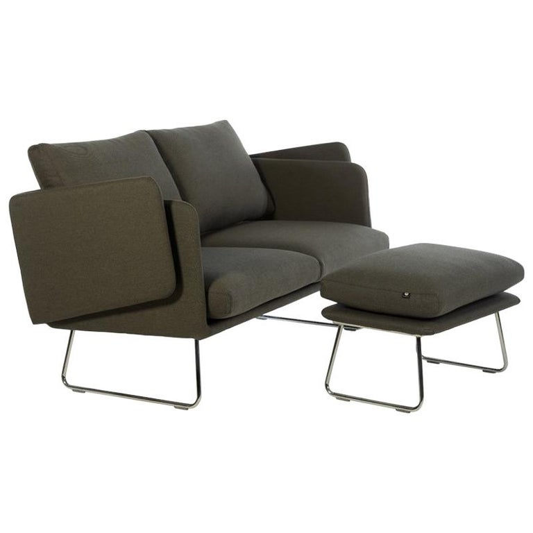 Rs Barcelona Spongy Sofa With Footrest In Dark Taupe By Stone Designs For