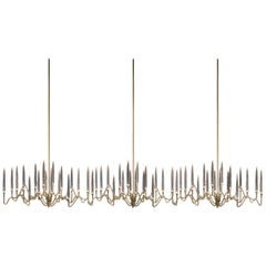 """Il Pezzo 3 Endless Chandelier"" with a Hand-Forged Gold Structure and Crystal"
