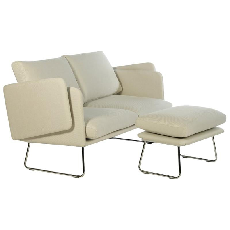 RS Barcelona Spongy Sofa In White With Footrest By Stone Designs For Sale