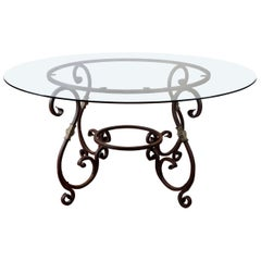 Round French Metal Base Dining Table