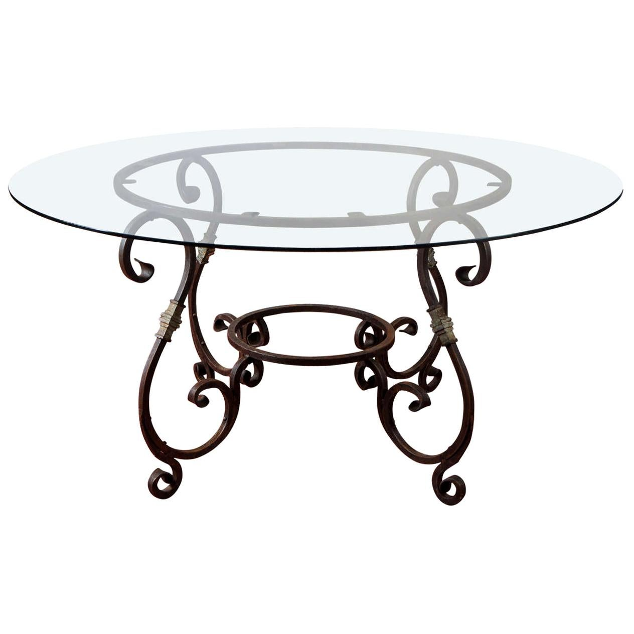 Exceptionnel Round French Metal Base Dining Table
