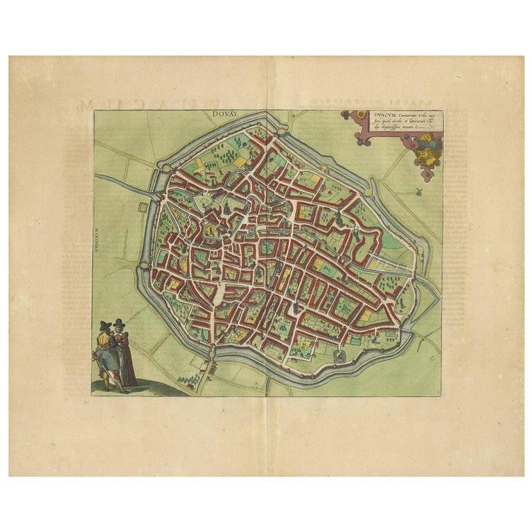 Antique Map of Douai 'France' by Braun & Hogenberg, circa 1575