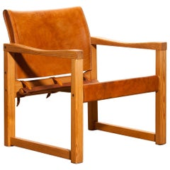 1970s, Cognac Leather Safari Chair by Karin Mobring, Sweden