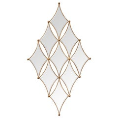Diamonds Mirror with Solid Mahogany Wood and Mirror Glass