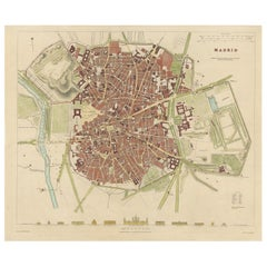 Antique Map of the City of Madrid 'Spain' by Henshall, 1831