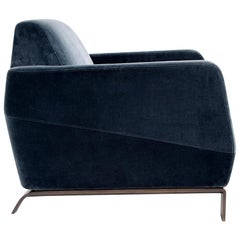 Klippen Lounge / Armchair in Blue Holly Hunt Velvet with Bronze Patina Base