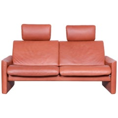 Erpo Designer Sofa Leather Brown Two-Seat Couch Modern Recliner
