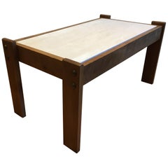 French Travertine and Wood Coffee Table