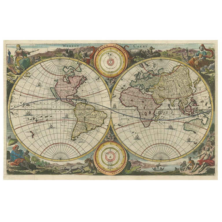 Antique original oak map cabinet for sale at 1stdibs antique world map by stoopendaal circa 1680 gumiabroncs Images