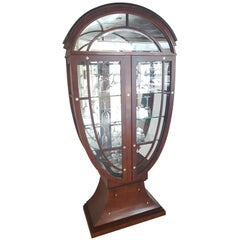 Illuminated Showcase Vitrine with Mirror Made of Olive Ash