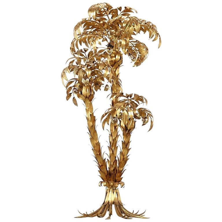 Extra Large Brass Gilt Metal Three-Trunk Palm Tree Floor Lamp by Hans Kögl For Sale