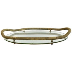 1940s-1950s Brass and Mirrored Tray