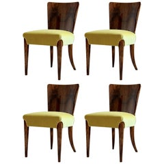 Set of Four Chairs by Jindrich Halabala Model H-214 Art Deco, Fully Restored