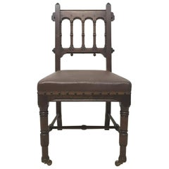 Bruce Talbert for Gillows & Co., a Rare Gothic Revival Walnut Side or Desk Chair