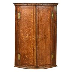 Antique Bow Fronted Corner Cabinet, English, Georgian, Oak, Hanging, Circa 1770