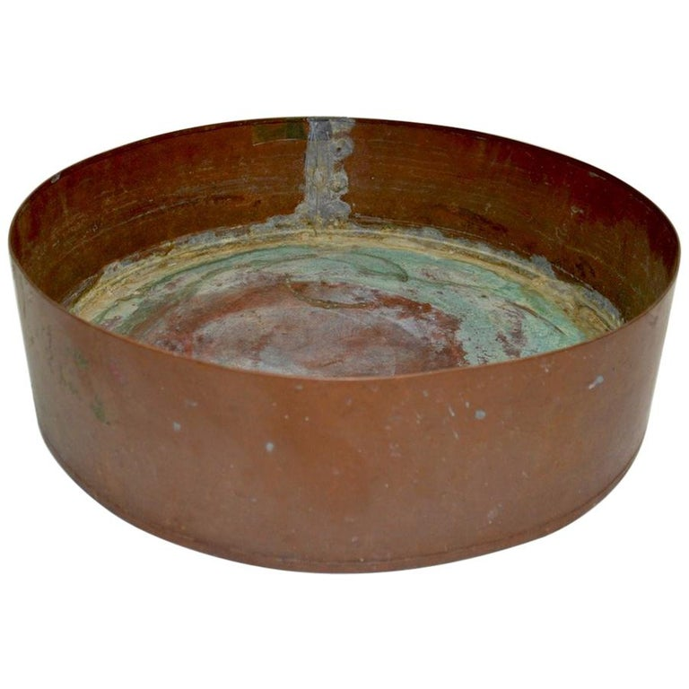 Industrial Copper Bowl Planter Architectural Element For Sale