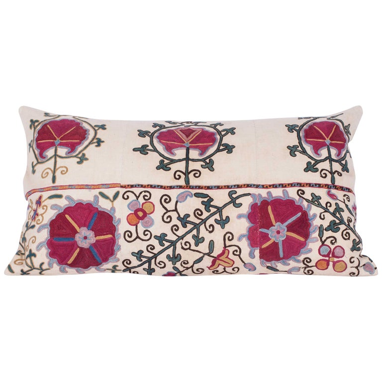Antique Suzani Pillow Case made from a Suzani from Bukhra, Uzbekistan