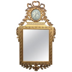 19th Century, French, Louis XVI Painted and Gilt Trumeau Mirror Depicting Cherub