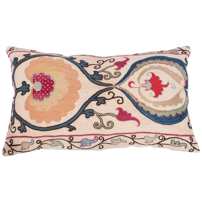 Antique Suzani Pillow Case Made from a Suzani from Bukhara Uzbekistan