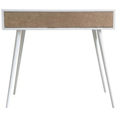 New Pink Relief Metal and White Lacquered Wood Console Table with Drawer
