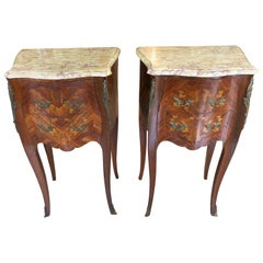 Lovely Pair of French Marquetry Nightstands with Roses and Marble Tops