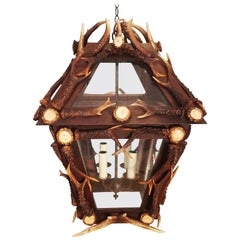 Glass Panelled Antler Horn Lantern
