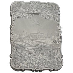 Victorian Silver Castle-Top Card Case 'City of Berlin'. Nathaniel Mills, 1849