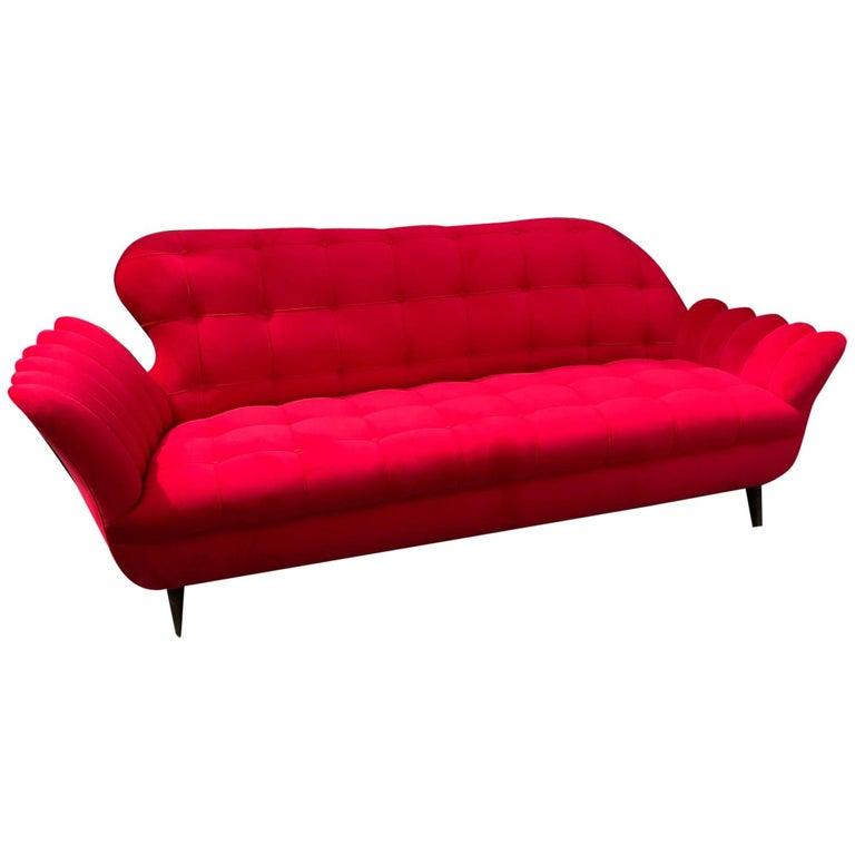 Unusual, Vintage Sofa, Italian, 1950s