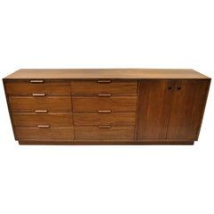 Vintage Danish Walnut 12 Drawer Dresser Credenza Cabinet American Martinsville