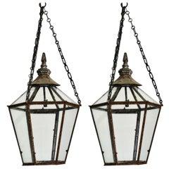 Pair of 19th Century English Hexagonal Lanterns