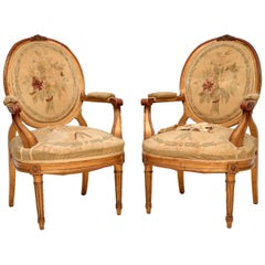 Pair of Antique French Giltwood Salon Armchairs