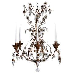 Late 1800s Italian Florentine Giltwood and Cut-Glass Crystal Six-Arm Candelabra