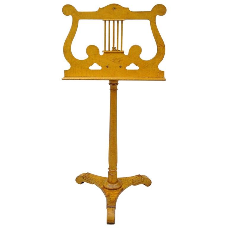 antique bird s eye maple biedermeier style adjustable lyre music stand lectern for sale at 1stdibs. Black Bedroom Furniture Sets. Home Design Ideas