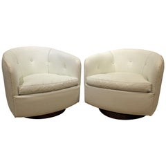 Pair of Mid-Century Modern Milo Baughman Swivel Club Chairs