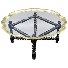 Early 20th Century Ebonized Glass Coffee Table