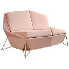 "Contemporary Velveteen Rose Sofa ""Triarm"""