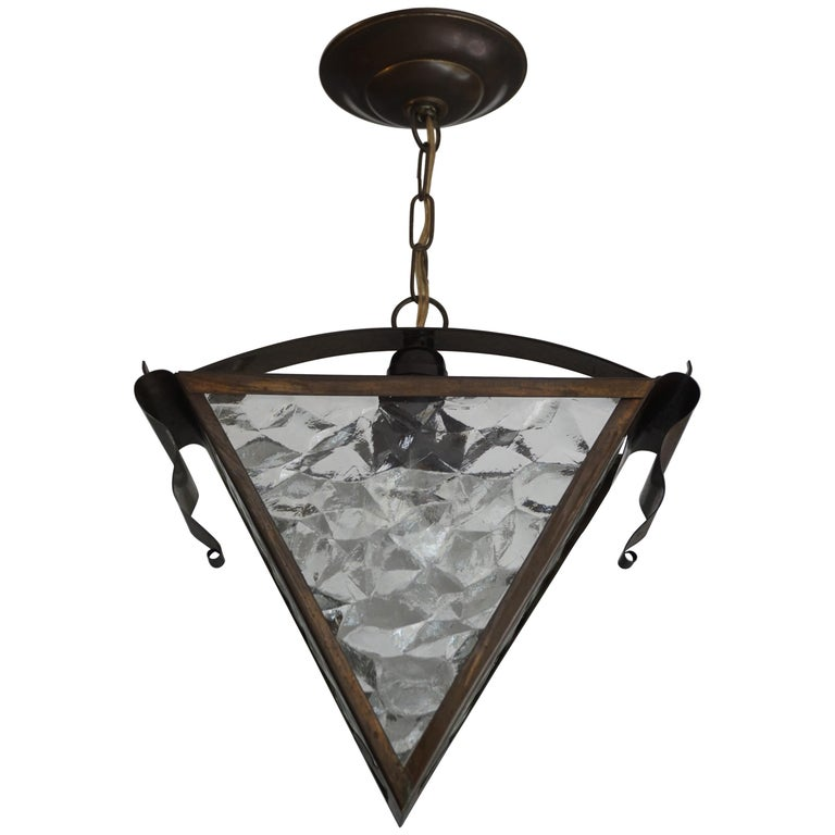 Early 20th Century Arts & Crafts Brass and Glass Light Fixture / Pendant Lamp
