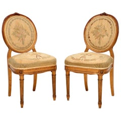 Pair of Antique French Giltwood Salon Side Chairs