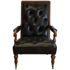19th Century English Leather Library Armchair