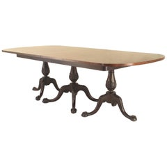 English Chippendale Style Triple Pedestal Base Dining Table