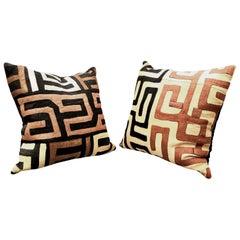 African Kuba Cloth Pillows, a Pair
