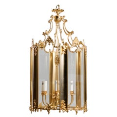 Large French Louis XVI Style Modern Multi Light Gilt Bronze and Glass Lantern