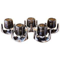 1970s German Fritz Nagel Kerzenhalter Chrome and Smoked Glass Candleholders
