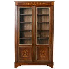 19th Century French Charles X Period Mahogany and Lemon Wood Marquetry Bookcase