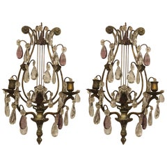 Pair of Antique French Bronze and Crystal Sconces, circa 1870