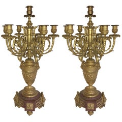 Wonderful Large Pair 19th Century Louis XVI Ormolu Rouge Marble Candelabra Lamps