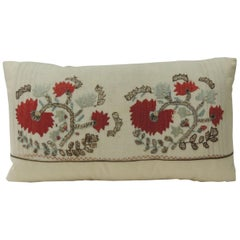 19th Century Red and Green Turkish Embroidery Lumbar Decorative Pillow