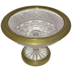 Wonderful French Gilt Bronze Cut Crystal Ormolu Pedestal Bowl Baccarat Compote
